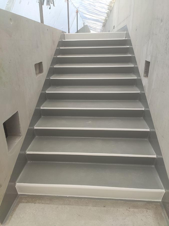 Escaliers des gradins terminés